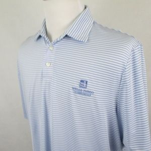 Ralph Lauren RLX Wells Fargo Striped Golf Polo EUC